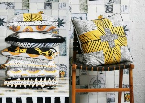 I love these Ahoy Trader hand-printed cushions