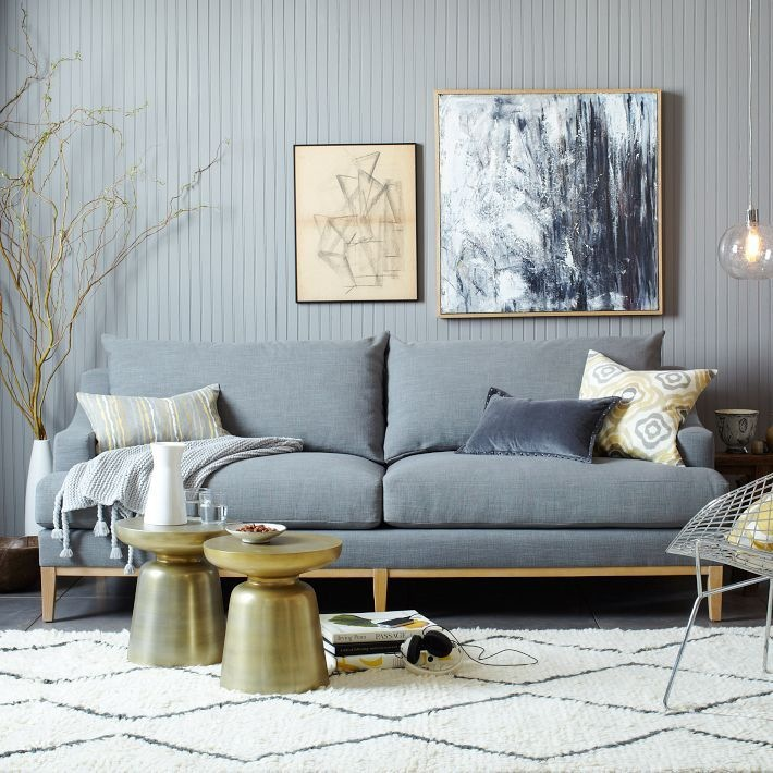West Elm Montgomery sofa and accessories. Tonal. Relaxed. Affordable styling for everyday living