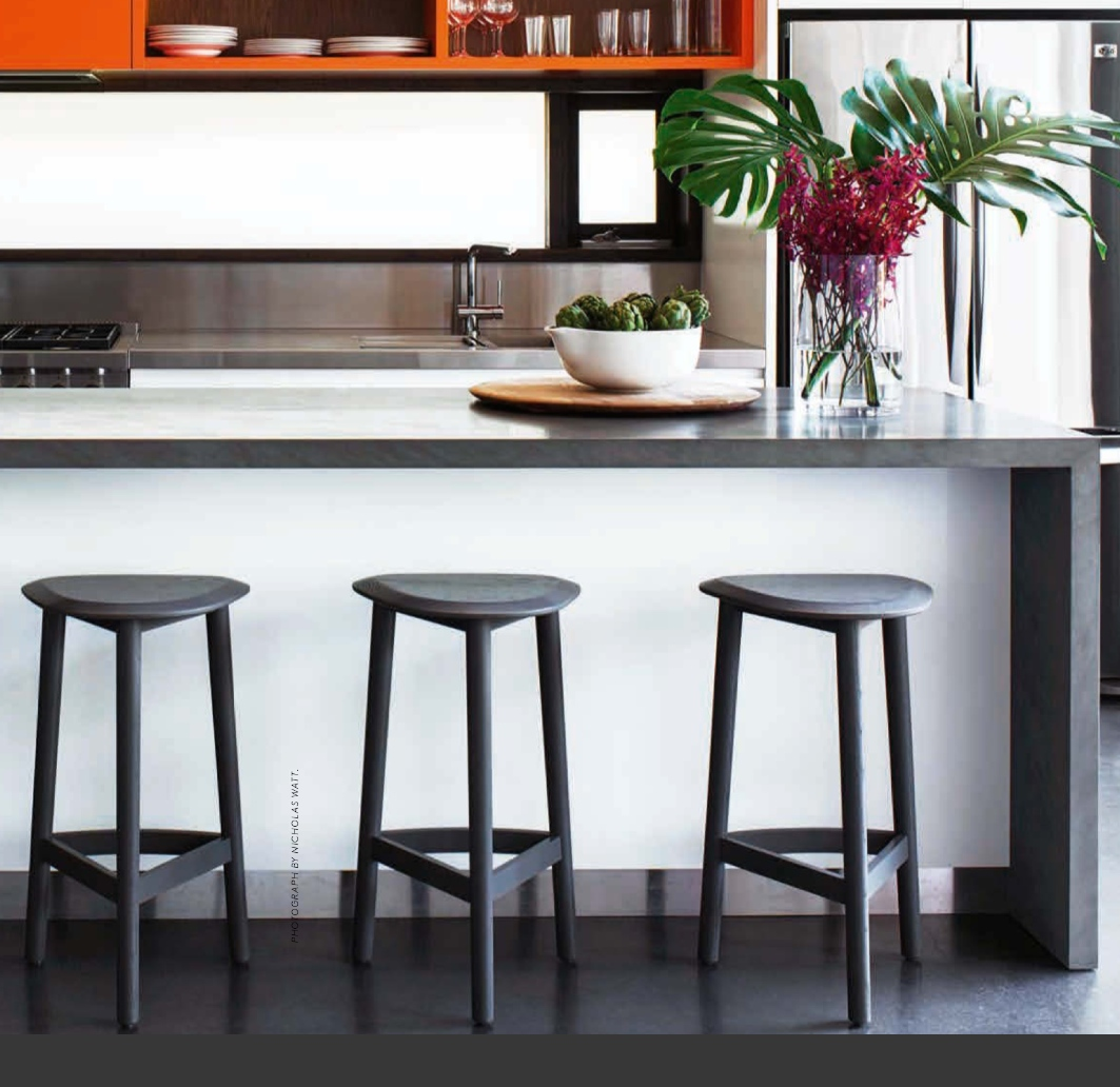 This gorgeous kitchen by Andrea D'Cruz with the Hendrix stools in grey