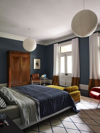 Deep Airforce blue walls add scale and drama to high ceilings in The Avenue by Arent & Pyke. Photography Anson Smart.