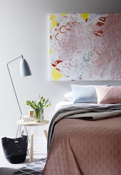 The Gubi Grasshopper lamp is the perfect scale and shape alongside the Raft NA4 stool. This bedroom from the Crisp St apartments in Melbourne by Mim Design and photographed by Derek Swalwell.