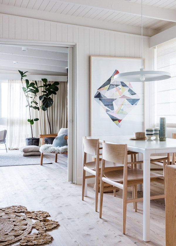 Ellie Malin print the ideal scale in the dining room of Simone and Rhys Haag's Melbourne home