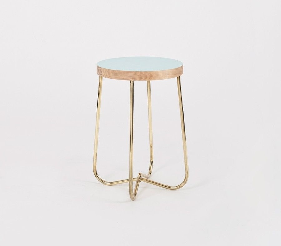 Douglas + Bec cross brass side table with oak top in choice of colours.