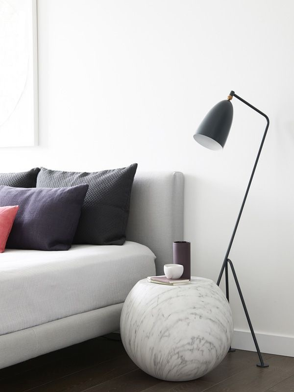 Here, the Gubi Grasshopper lamp is the perfect complement to the Cappellini Bong side table. Photography by Eve Wilson. Production by Lucy Feagins of The Design Files.